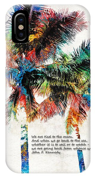 Palm Tree iPhone X Case - Colorful Palm Trees - Returning Home - By Sharon Cummings by Sharon Cummings