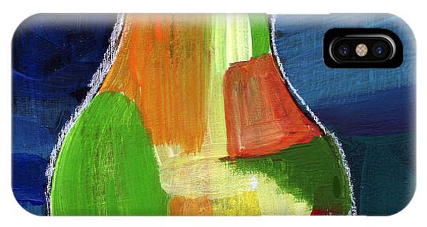 Pear iPhone Case - Colorful Pear- Abstract Painting by Linda Woods