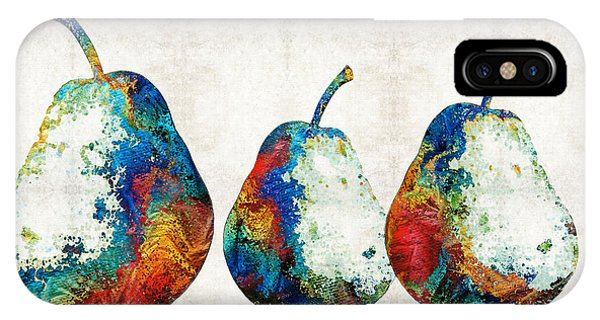 Pears iPhone Case - Colorful Pear Art - Three Pears - By Sharon Cummings by Sharon Cummings
