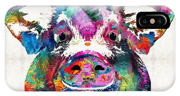 Digital iPhone Case - Colorful Pig Art - Squeal Appeal - By Sharon Cummings by Sharon Cummings
