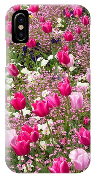 Colorful Pink Tulips And Other Flowers In Spring IPhone Case