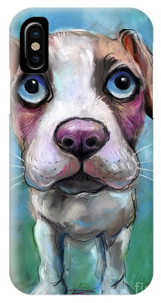 Russian Impressionism iPhone Case - Colorful Pit Bull Puppy With Blue Eyes Painting  by Svetlana Novikova