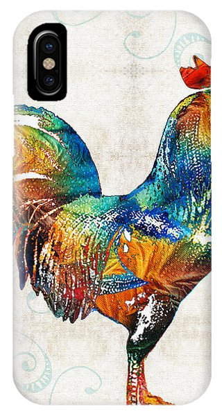 Rooster iPhone Case - Colorful Rooster Art By Sharon Cummings by Sharon Cummings