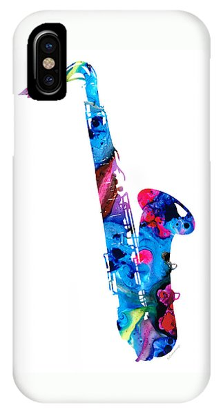 Music iPhone Case - Colorful Saxophone 2 By Sharon Cummings by Sharon Cummings