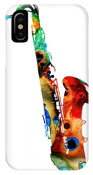 Rock And Roll Art iPhone Case - Colorful Saxophone By Sharon Cummings by Sharon Cummings