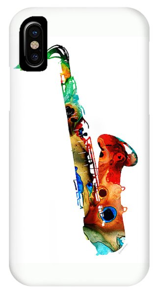 Jazz iPhone Case - Colorful Saxophone By Sharon Cummings by Sharon Cummings