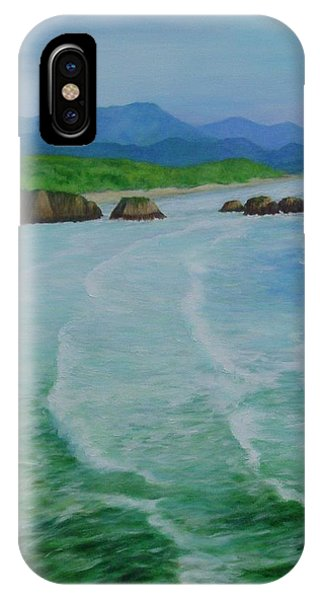 Colorful Seascape Oregon Cannon Beach Ecola Landscape Art Painting IPhone Case