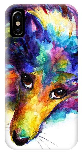 Colorful Sheltie Dog Portrait IPhone Case