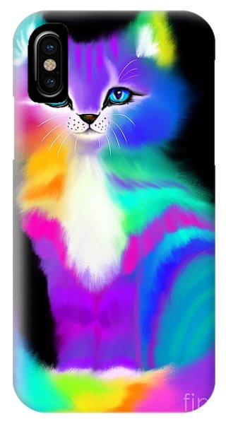 Colorful Striped Rainbow Cat IPhone Case