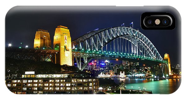 Colorful Sydney Harbour Bridge By Night IPhone Case