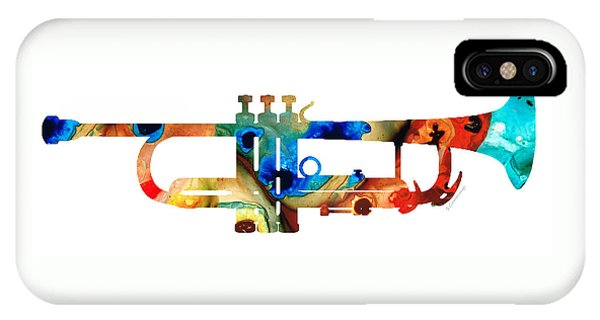 Music iPhone Case - Colorful Trumpet Art By Sharon Cummings by Sharon Cummings