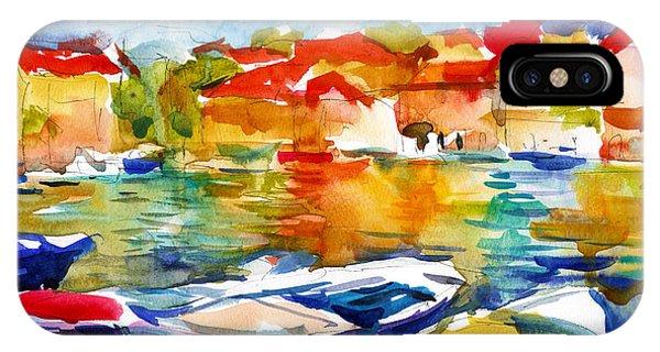iPhone Case - Colorful Watercolor Boats European Water Scape by Svetlana Novikova