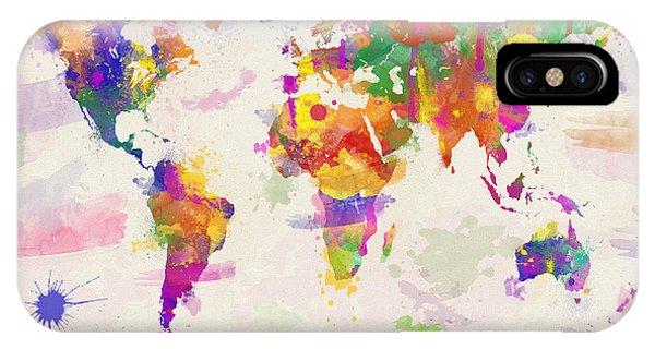 Colorful Watercolor World Map IPhone Case