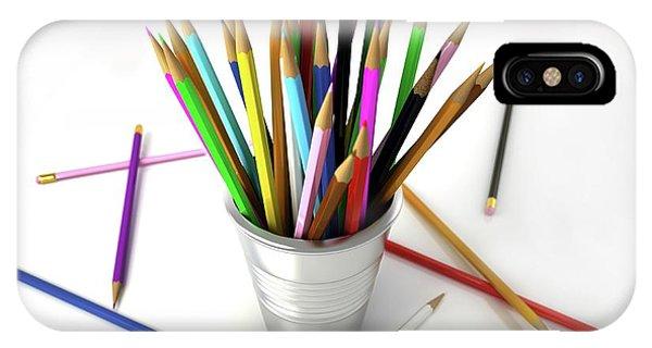 Coloured Pencil iPhone Case - Colouring Pencils In A Pot by Leonello Calvetti