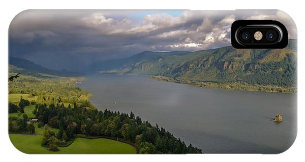 Columbia River Gorge Rain Clouds Phone Case by Tristina Yarzombek