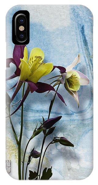 Columbine Blossom With Suminagashi Ink IPhone Case