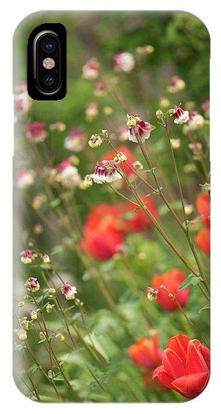 Aquilegia iPhone Case - Columbines (aquilegia Sp.) And Tulips (tulipa Sp.) by Maria Mosolova/science Photo Library