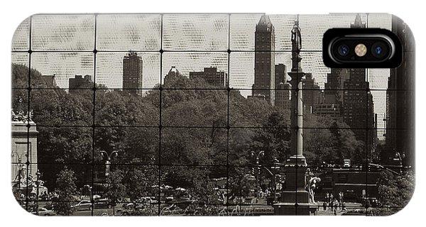 Columbus Circle Through The Time Warner Glass Window IPhone Case