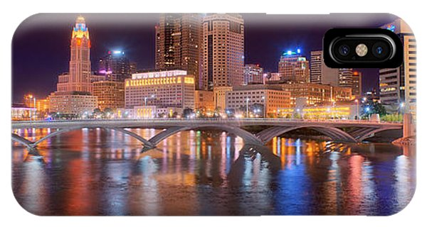 Downtown iPhone Case - Columbus Skyline At Night Color Panorama Ohio by Jon Holiday
