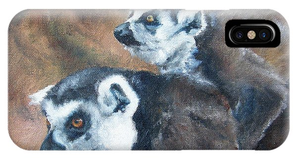 Ring-tailed Lemur iPhone Case - Come On Come On Theyre Ahead by Lori Brackett