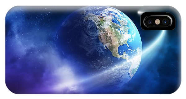 Earth Orbit iPhone Case - Comet Moving Passing Planet Earth by Johan Swanepoel