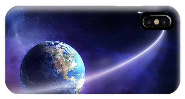 Shooting iPhone Case - Comet Moving Past Planet Earth by Johan Swanepoel