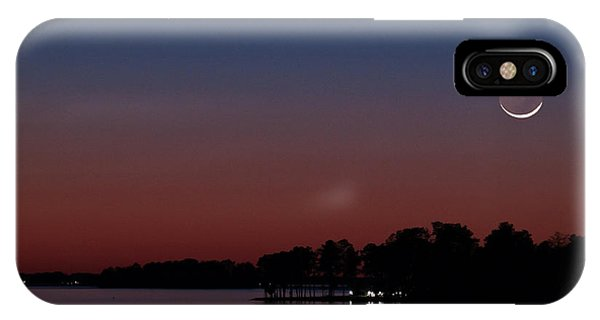 Comet Panstarrs And Crescent Moon IPhone Case