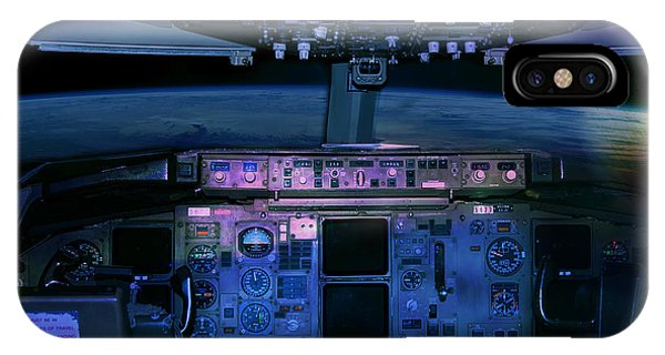 Commercial Airplane Cockpit By Night IPhone Case