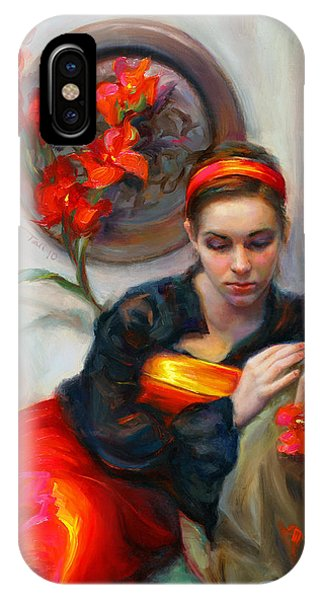 Figurative iPhone Case - Common Threads - Divine Feminine In Silk Red Dress by Talya Johnson
