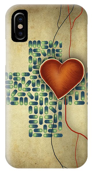 Conceptual Illustration Of Heart Over Cross Shaped Capsules Phone Case by Fanatic Studio / Science Photo Library