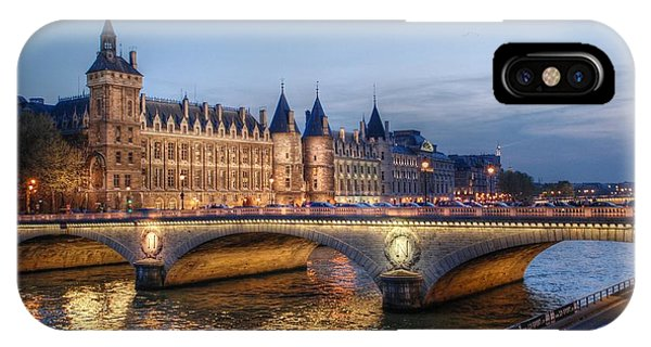 Conciergerie And Pont Napoleon At Twilight IPhone Case