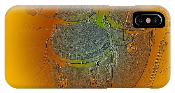 IPhone Case featuring the digital art Congas by Visual Artist Frank Bonilla