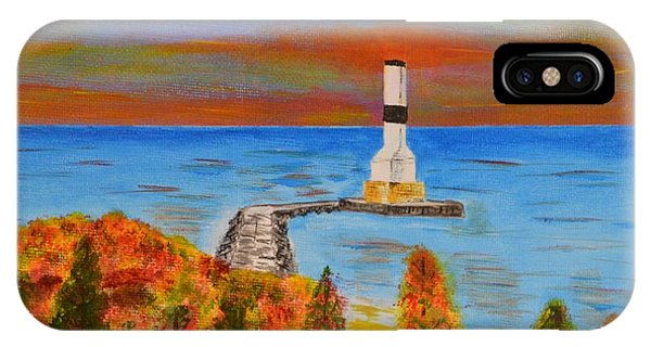 Fall, Conneaut Ohio Light House IPhone Case