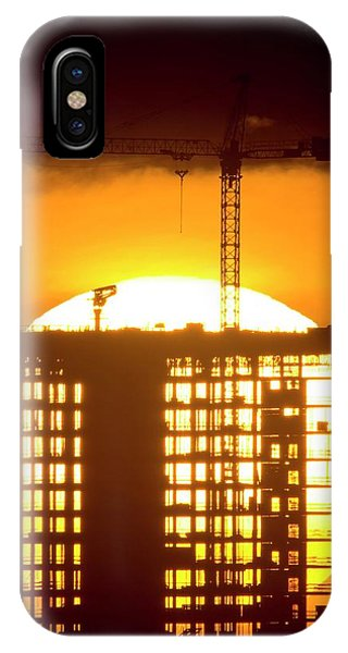 Sun Set iPhone Case - Construction At Sunset by David Nunuk/science Photo Library