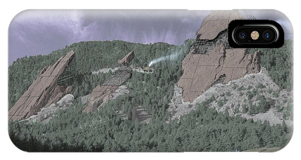Boulder iPhone Case - Construction Of The Flatirons - 1931 by Jerry McElroy