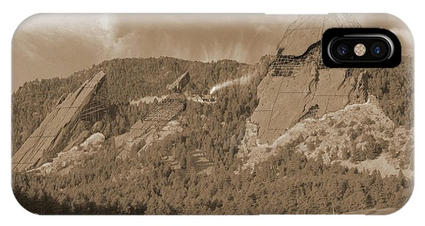 Boulder iPhone Case - Construction Of The Flatirons - 1931 - Sepia by Jerry McElroy
