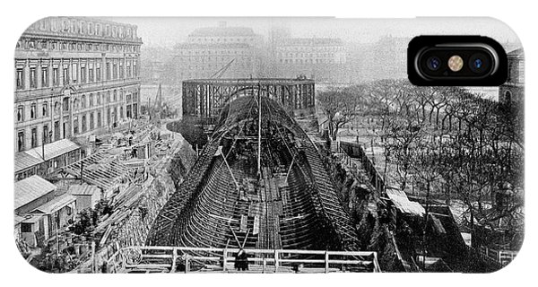 Paris Metro iPhone Case - Construction Of The Paris Metro by Cci Archives