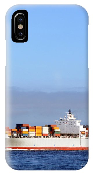 Navigation iPhone Case - Container Ship At Sea by Olivier Le Queinec