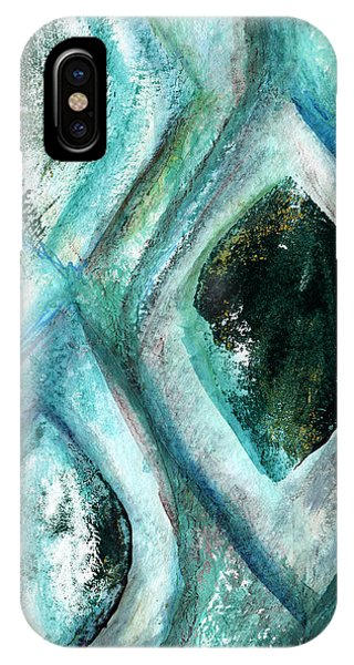 Teal iPhone Case - Contemporary Abstract- Teal Drops by Linda Woods