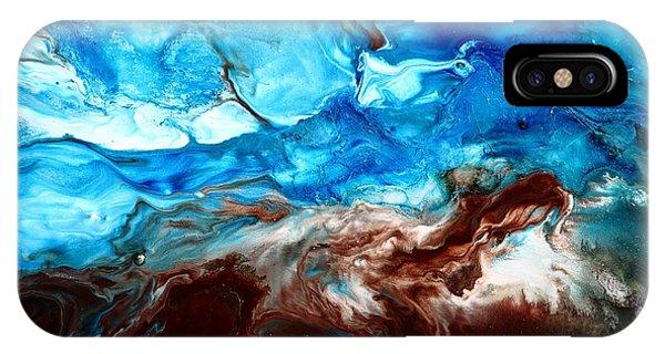 Contemporary Blue Abstract Art Fluid Painting-rapid By Kredart IPhone Case