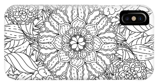 White Background iPhone Case - Contoured Mandala Shape Flowers For by Mashabr