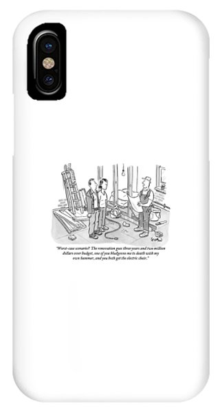 iPhone Case - Contractor Examining A Blueprint And Speaking by Robert Leighton