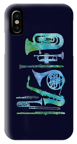 Trombone iPhone X Case - Cool Blue Band by Jenny Armitage