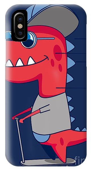 Humor iPhone Case - Cool Dinosaur Character Design by Braingraph