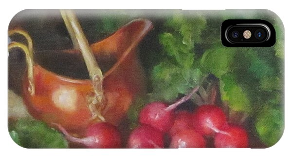 Copper Pot And Radishes Still Life Painting IPhone Case