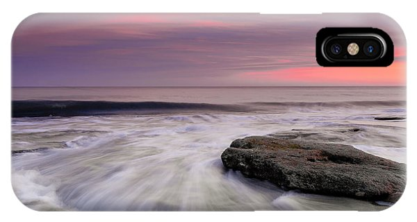 Coquina Rocks Washed By Ocean Waves At Colorful Sunset IPhone Case