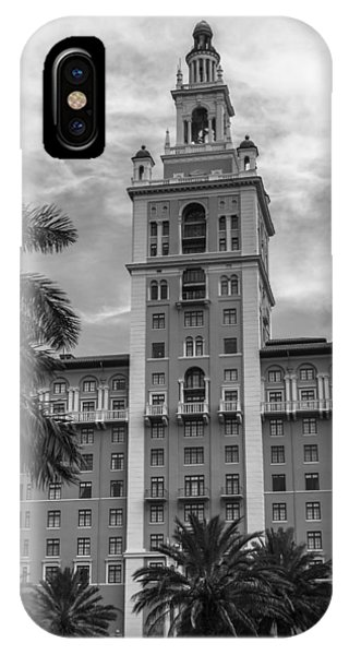 Coral Gables Biltmore Hotel In Black And White IPhone Case