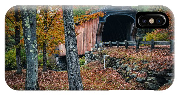 New England Fall Foliage iPhone Case - Corbin Covered Bridge Newport New Hampshire by Edward Fielding