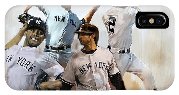New York Yankees iPhone Case - Core  Derek Jeter Mariano Rivera  Andy Pettitte Jorge Posada by Iconic Images Art Gallery David Pucciarelli