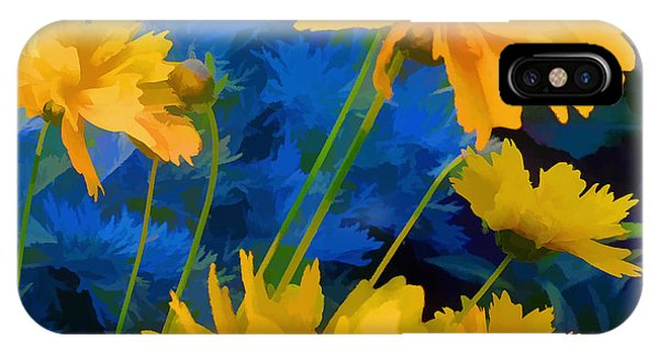 Coreopsis - Yellow And Blue IPhone Case